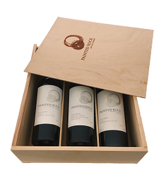 Branded Wooden Three Bottle Box